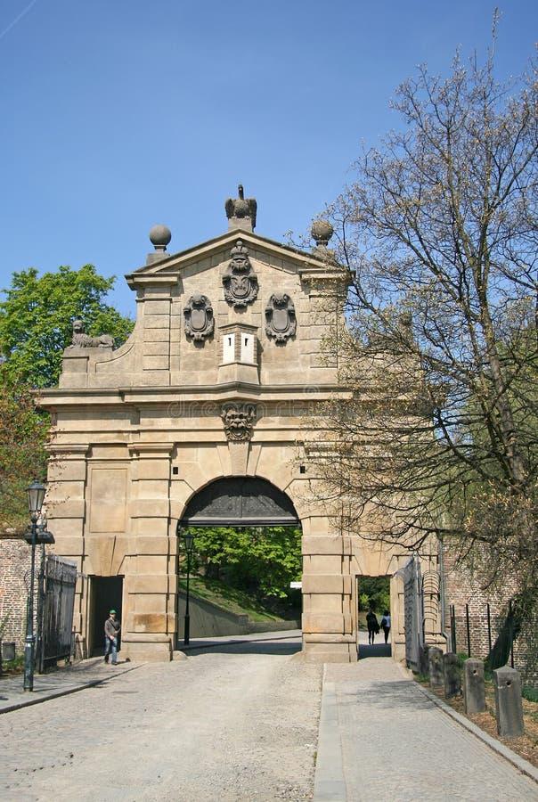 Porte Leopold Gate de Vysehrad à PRAGUE, RÉPUBLIQUE TCHÈQUE image libre de droits