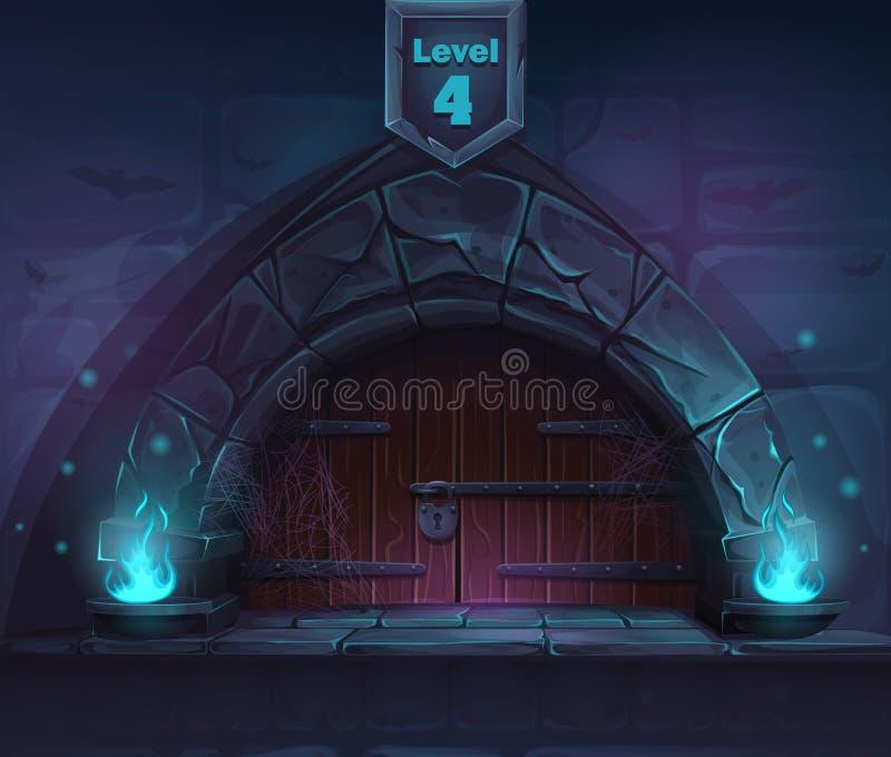 Porte magique au prochain 4ème niveau illustration de vecteur