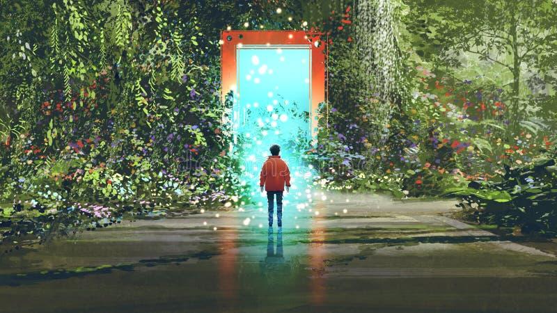 Porte magique dans un autre endroit illustration libre de droits