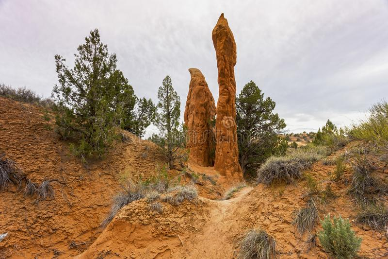 Porte-malheur de roche dans le jardin Escalante Utah de diables photographie stock