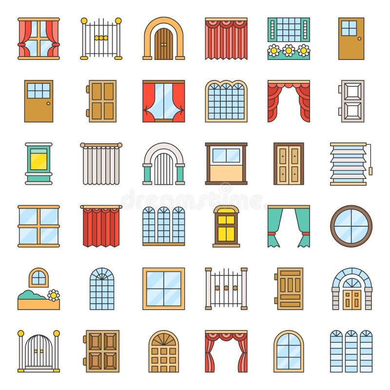 Porte moderne, de vintage et ensemble d'icône de fenêtre, contour rempli illustration libre de droits