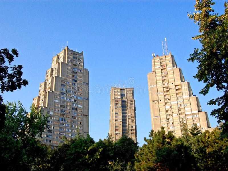 Porte orientale de Belgrade Un groupe de trois gratte-ciel identiques photographie stock libre de droits