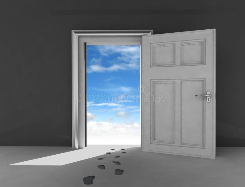 Porte ouverte au ciel avec des empreintes de pas illustration de vecteur