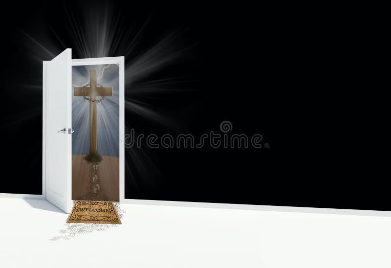 Porte ouverte avec la croix religieuse illustration de vecteur