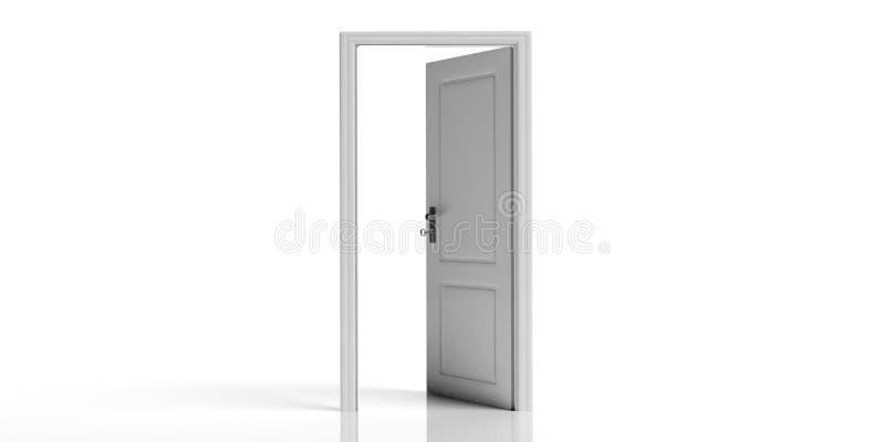 Porte ouverte décorée blanche d'isolement sur le fond blanc illustration 3D illustration libre de droits