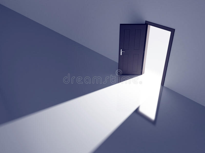 Porte ouverte dans la lumière illustration stock