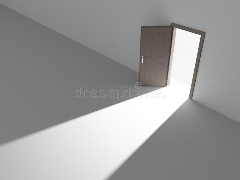Porte ouverte dans la lumière illustration de vecteur