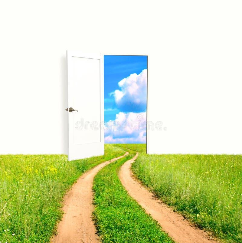 Porte ouverte dans le domaine illustration de vecteur
