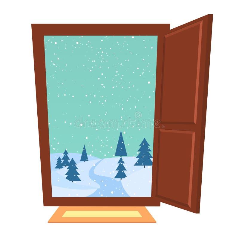 Porte ouverte en hiver illustration libre de droits