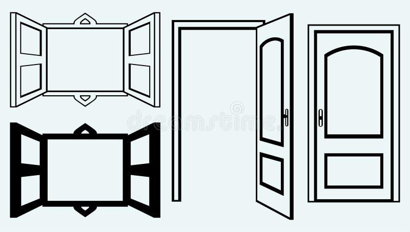 Porte ouverte et fenêtre illustration stock