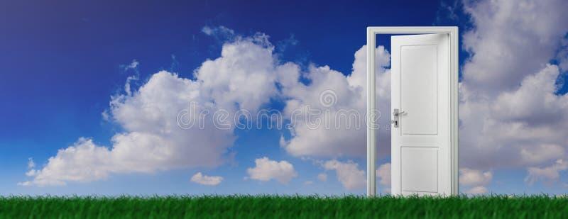 Porte ouverte sur l'herbe verte, fond de ciel bleu, bannière illustration 3D illustration stock