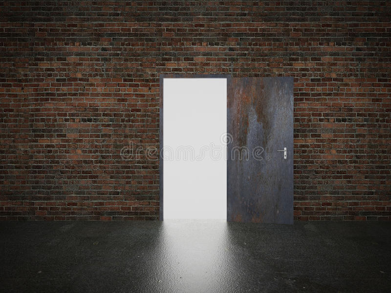 Porte ouverte sur le mur de briques, 3d illustration de vecteur
