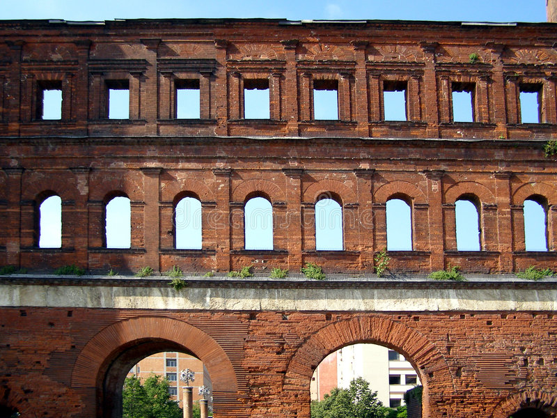 Download Porte Palatine, Turin stock photo. Image of archaeology - 5521356