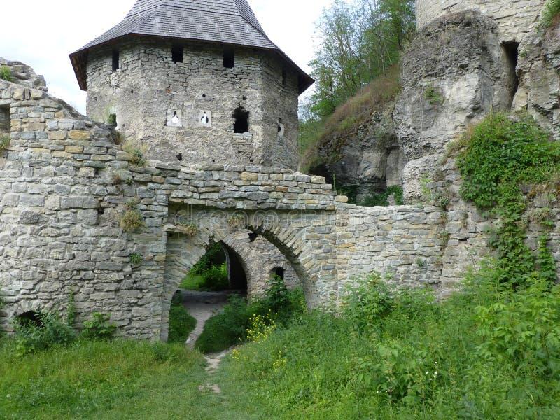 Porte polonaise dans Kamenetz-Podolsk Les restes du mur défensif images libres de droits