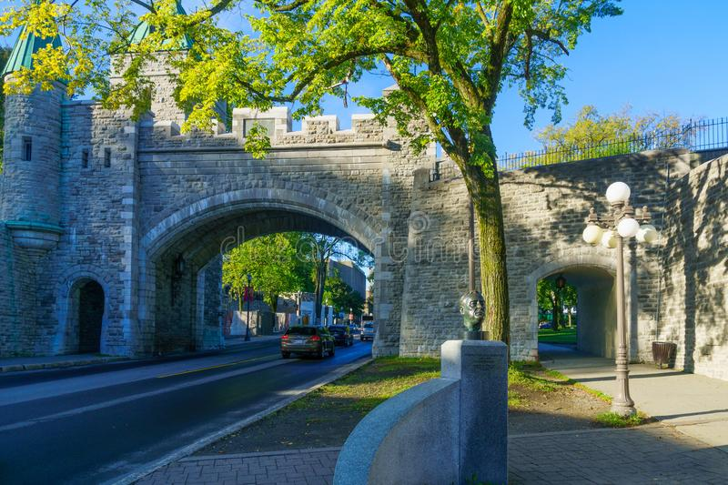 Porte Saint Louis Gate in Quebec City walls. Quebec City, Canada - September 27, 2018: View of the Porte Saint Louis Gate in Quebec City walls, Quebec, Canada royalty free stock photography