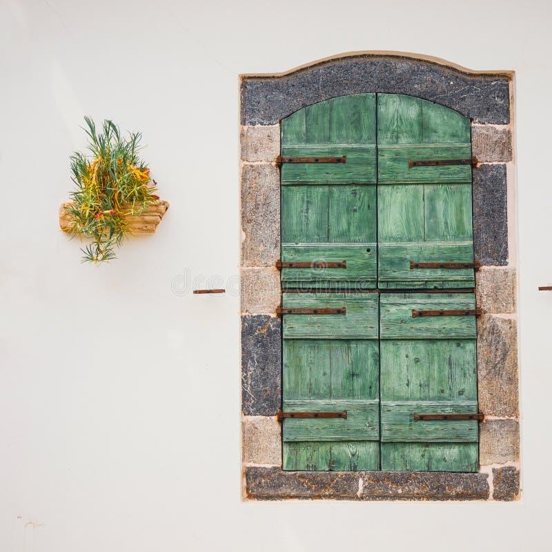 Porte verdi con i fiori nel vaso su una parete bianca fotografie stock