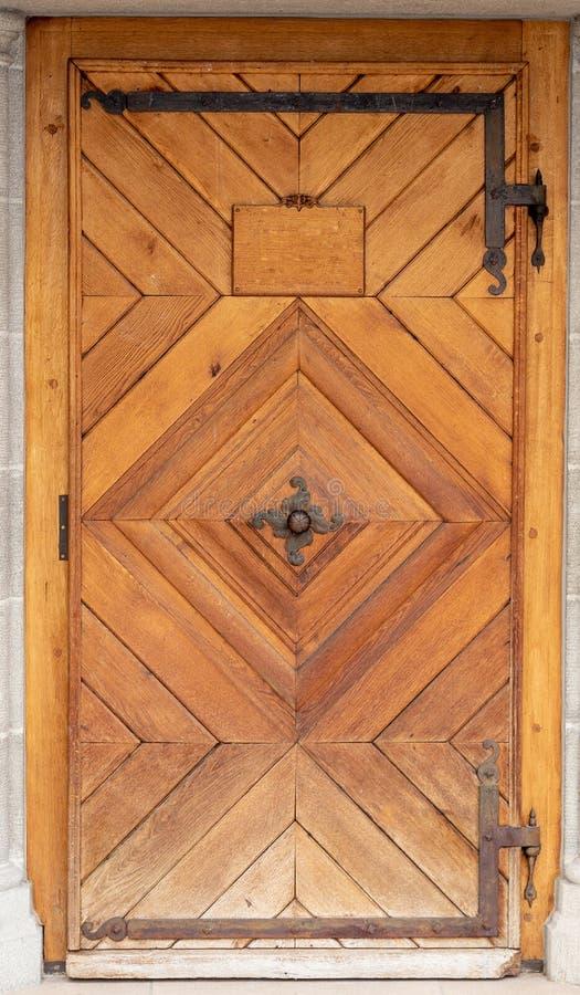 Porte vieux woodcut En bois entrée photo stock