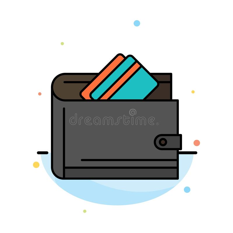 Portefeuille, argent liquide, carte de crédit, dollar, finances, calibre plat d'icône de couleur d'abrégé sur argent illustration de vecteur