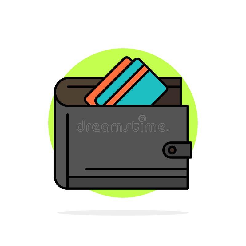 Portefeuille, argent liquide, carte de crédit, dollar, finances, icône plate de couleur de fond abstrait de cercle d'argent illustration stock