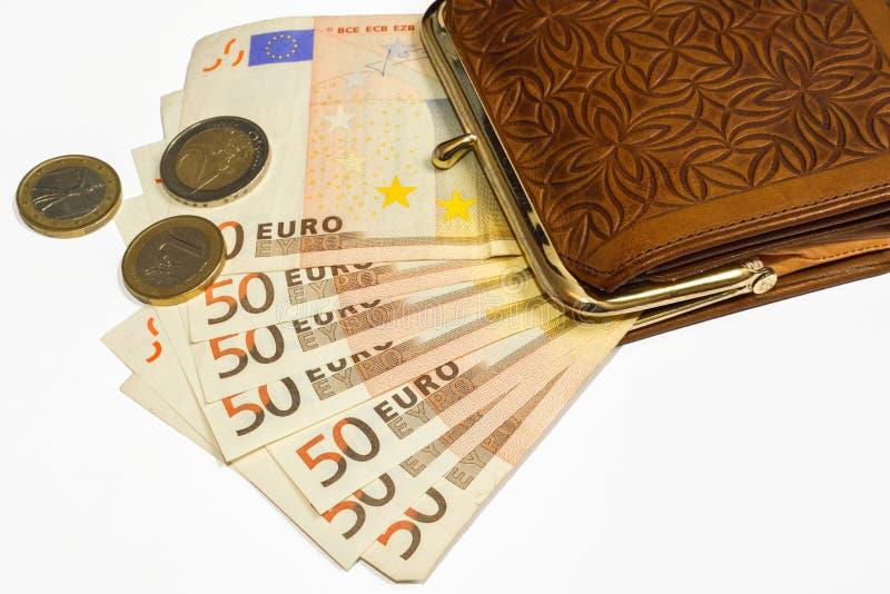 Portefeuille avec de l'euro argent photos libres de droits