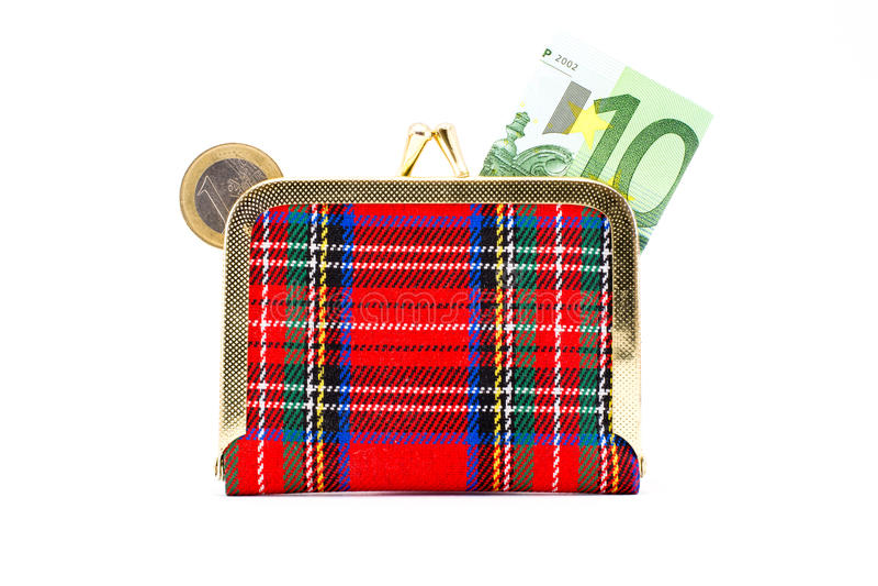 Portefeuille avec l'euro monnaie et billets images stock