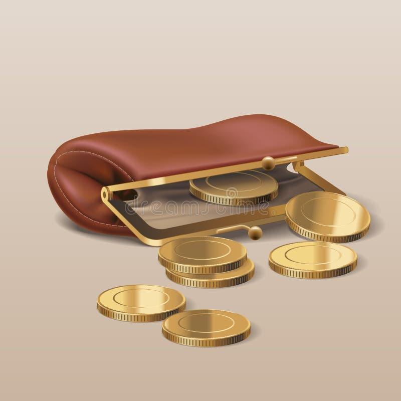 Portefeuille avec l'illustration d'or de vecteur de pièces de monnaie illustration stock