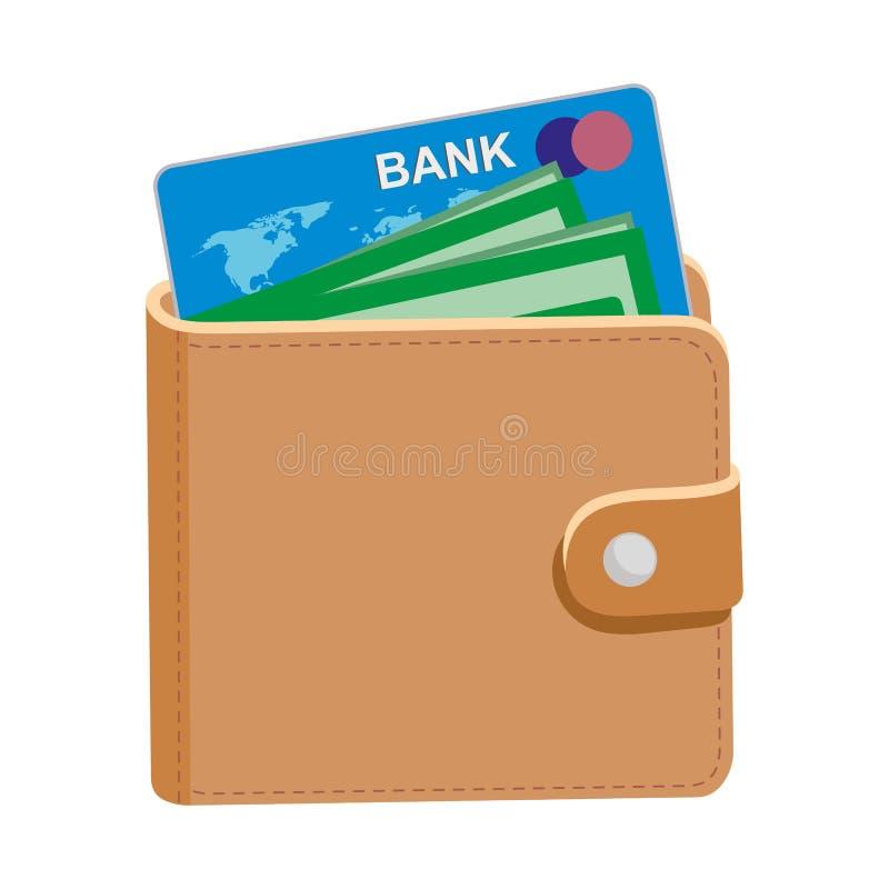 Portefeuille avec la carte de crédit d'argent et d'isolement sur le fond blanc illustration de vecteur