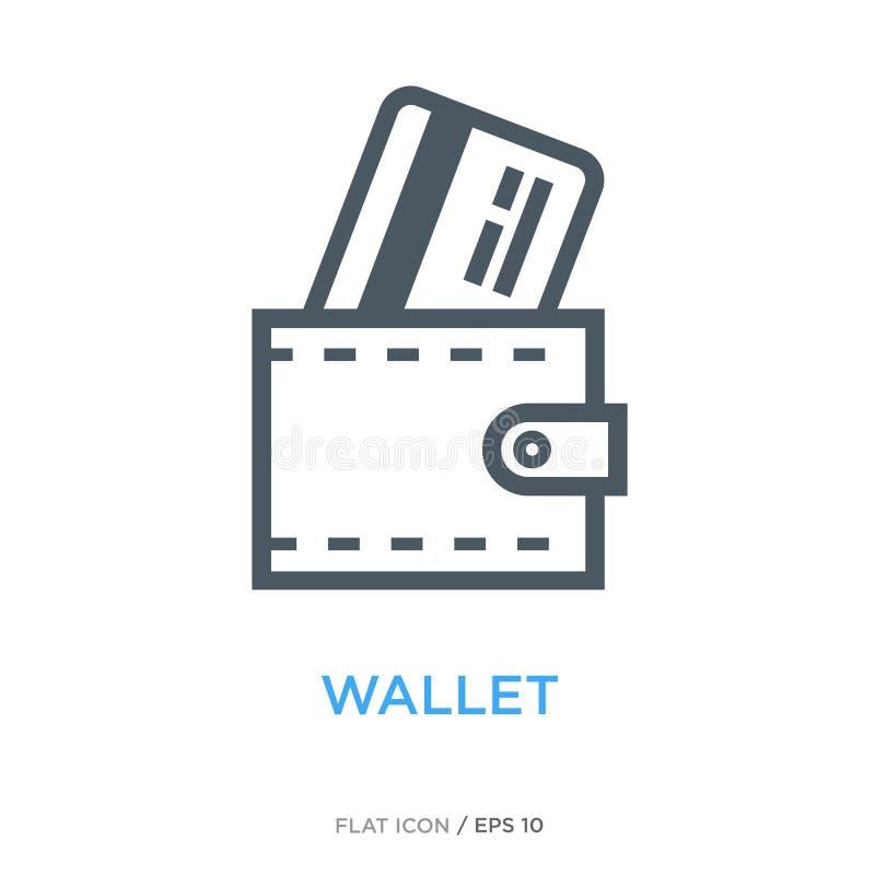 Portefeuille avec la ligne icône plate de carte de crédit illustration de vecteur