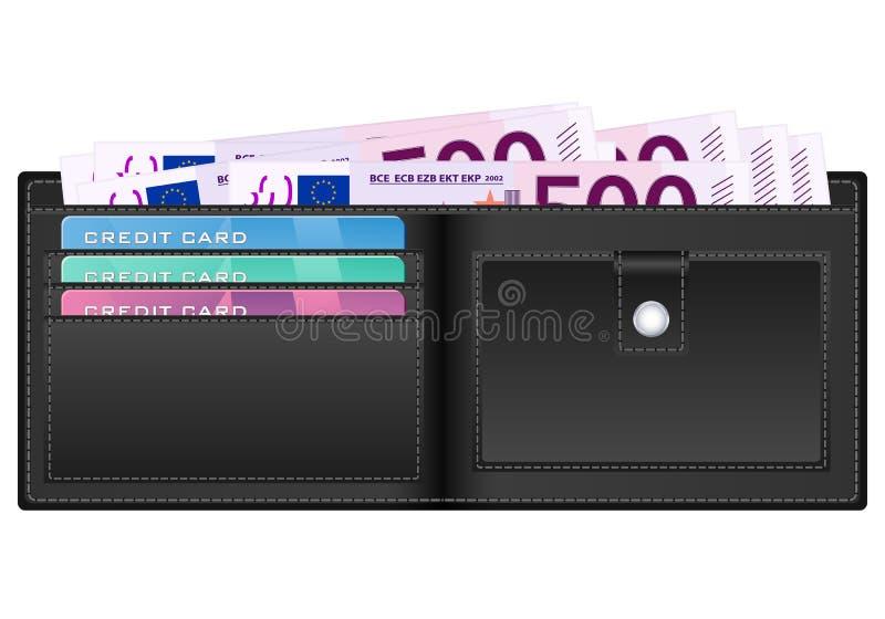Portefeuille avec le billet de banque de l'euro cinq cents illustration libre de droits