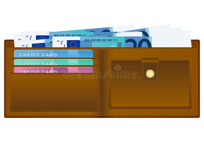Portefeuille avec le billet de banque de l'euro vingt illustration de vecteur
