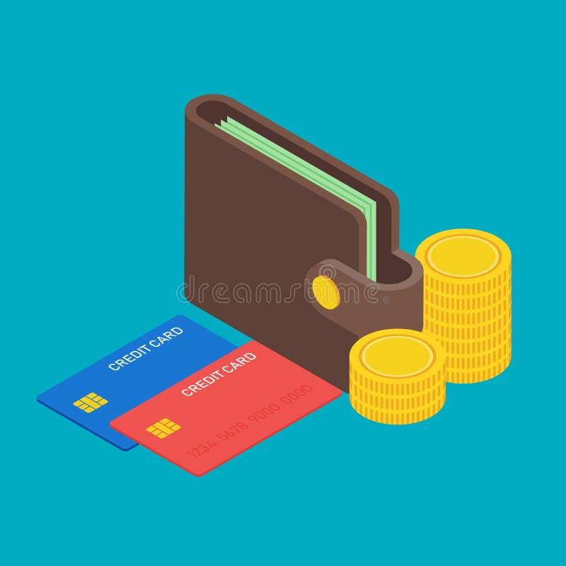 Portefeuille avec le billet de banque du dollar d'argent, pile des pièces de monnaie et conception plate isométrique de cartes de illustration de vecteur