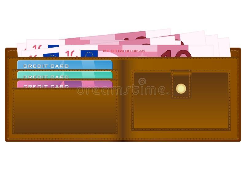 Portefeuille avec le billet de banque de l'euro dix illustration libre de droits