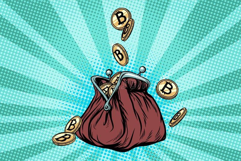 Portefeuille avec le bitcoin, la crypto devise et l'argent électronique illustration de vecteur