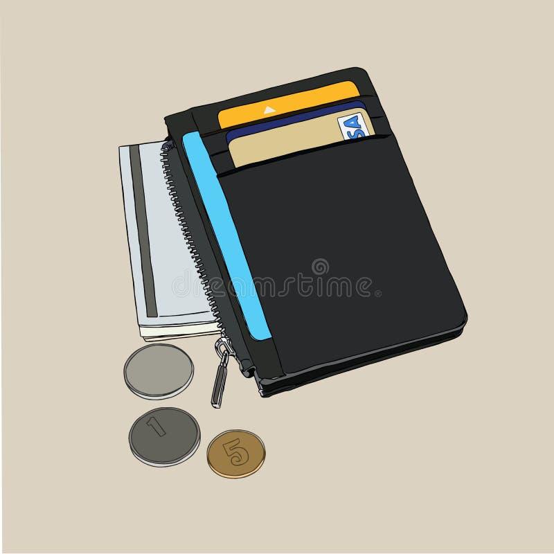 Portefeuille avec le vecteur de cartes de crédit d'argent et illustration libre de droits