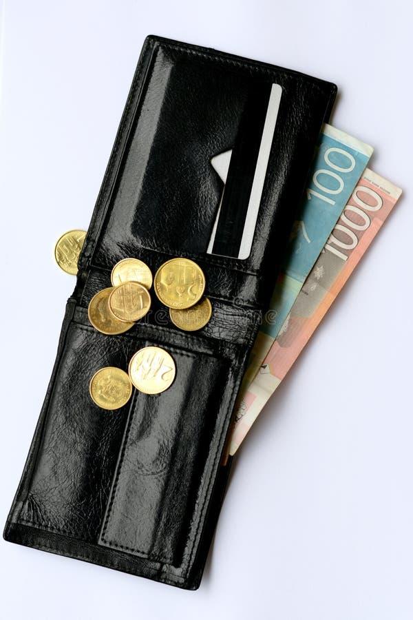 Portefeuille avec les billets de banque serbes de dinar photographie stock