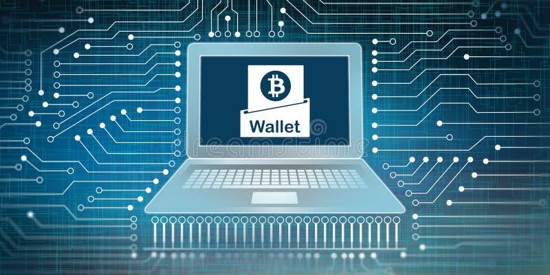 Portefeuille de Bitcoin et concept de connexion réseau illustration stock