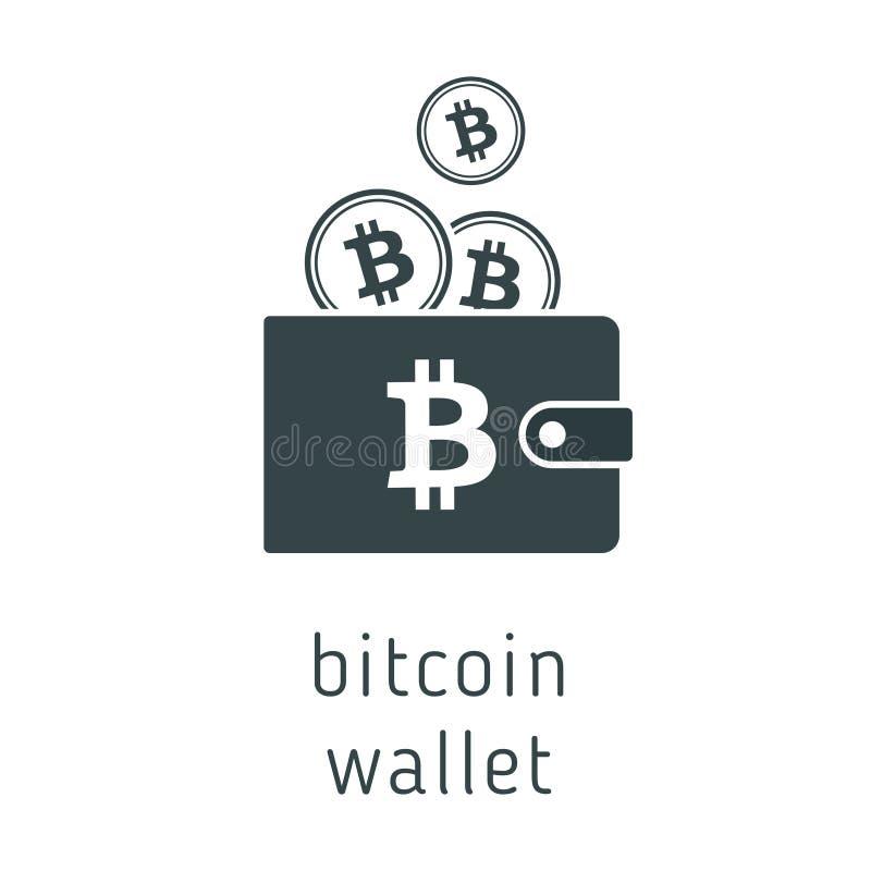 Portefeuille de bitcoin de vecteur avec des pièces de monnaie illustration libre de droits