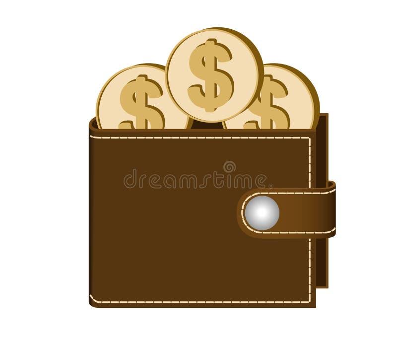 Portefeuille de Brown avec des pièces de monnaie du dollar illustration stock