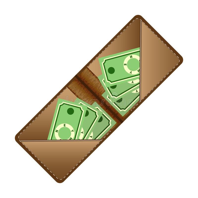Portefeuille de Brown avec les billets de banque verts Vecteur plat illustration libre de droits