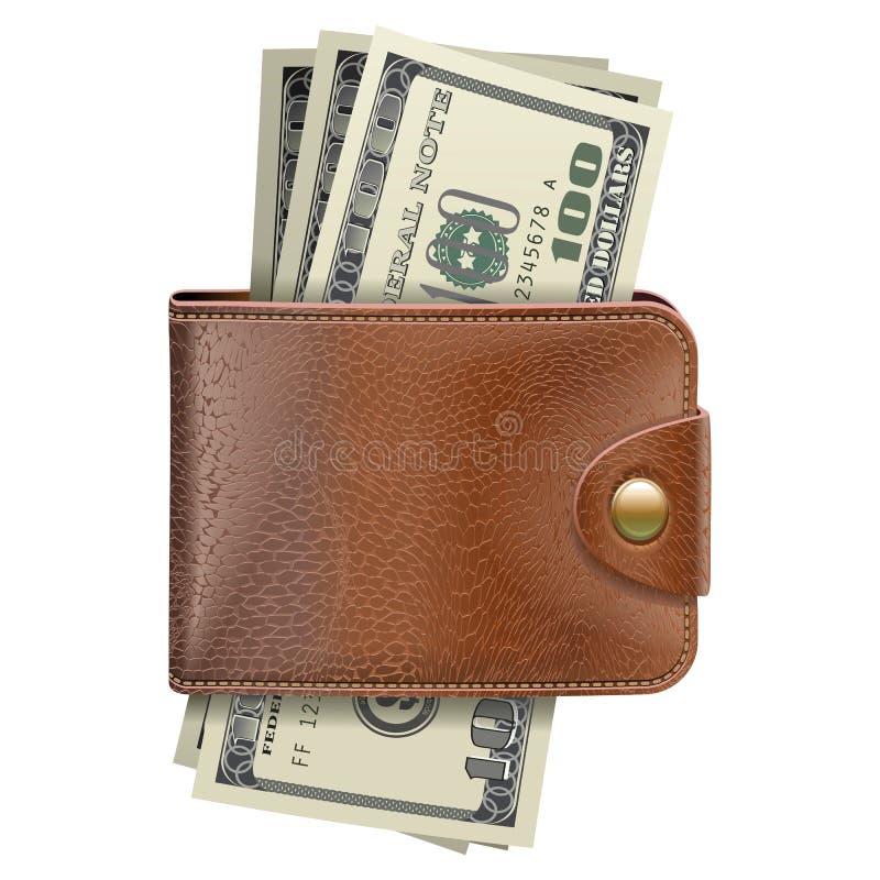 Portefeuille de vecteur avec l'argent illustration libre de droits