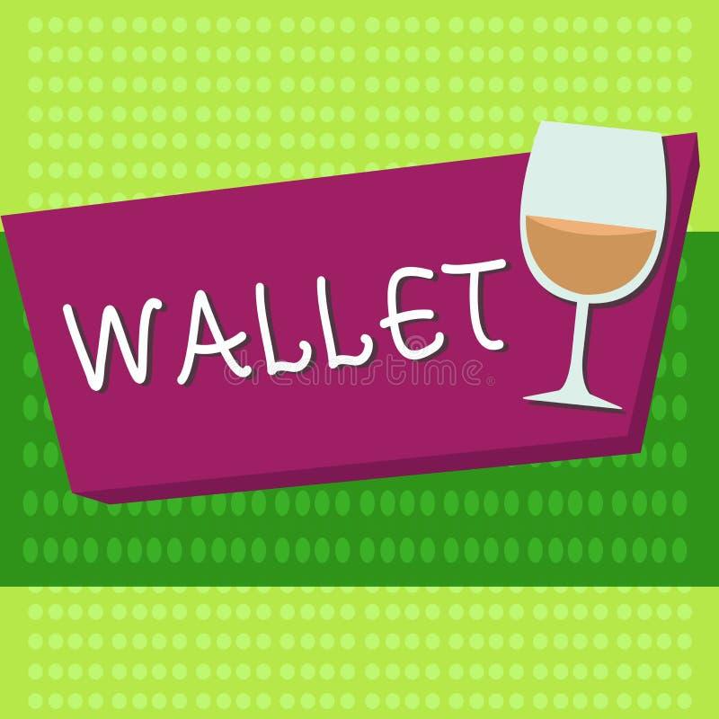 Portefeuille des textes d'écriture Concept signifiant le point de droit se pliant plat de poche pour tenir des cartes d'argent et illustration stock