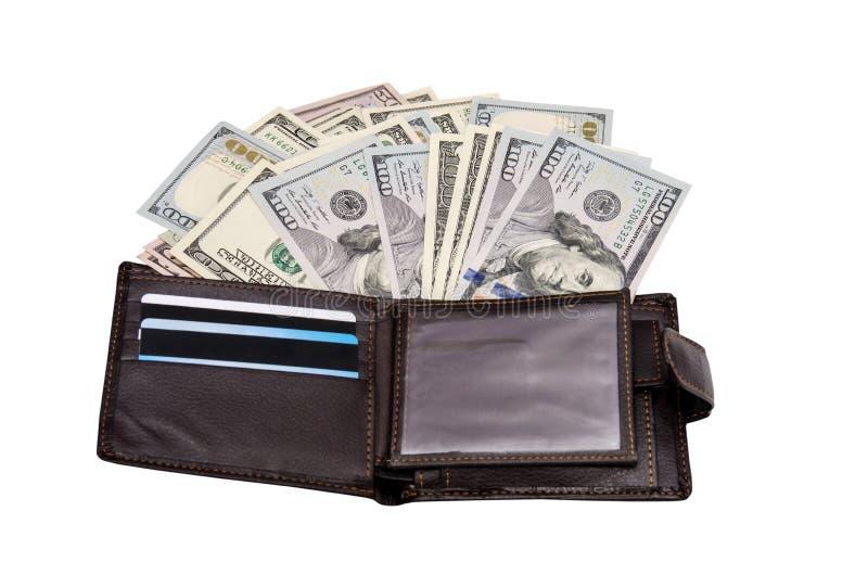 Portefeuille en cuir avec des dollars photographie stock
