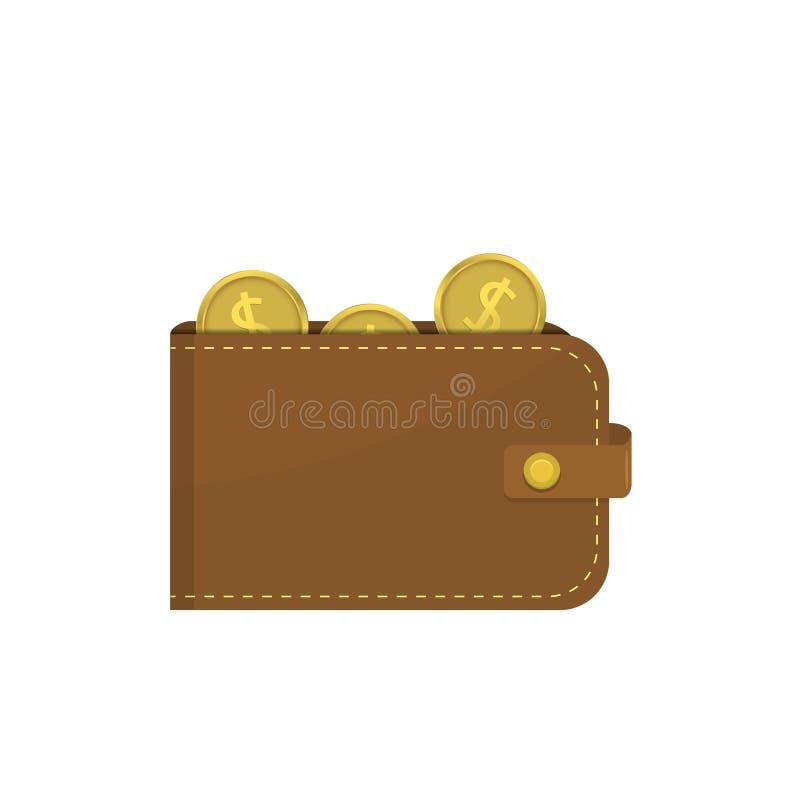 Portefeuille en cuir avec des pièces de monnaie du dollar illustration libre de droits