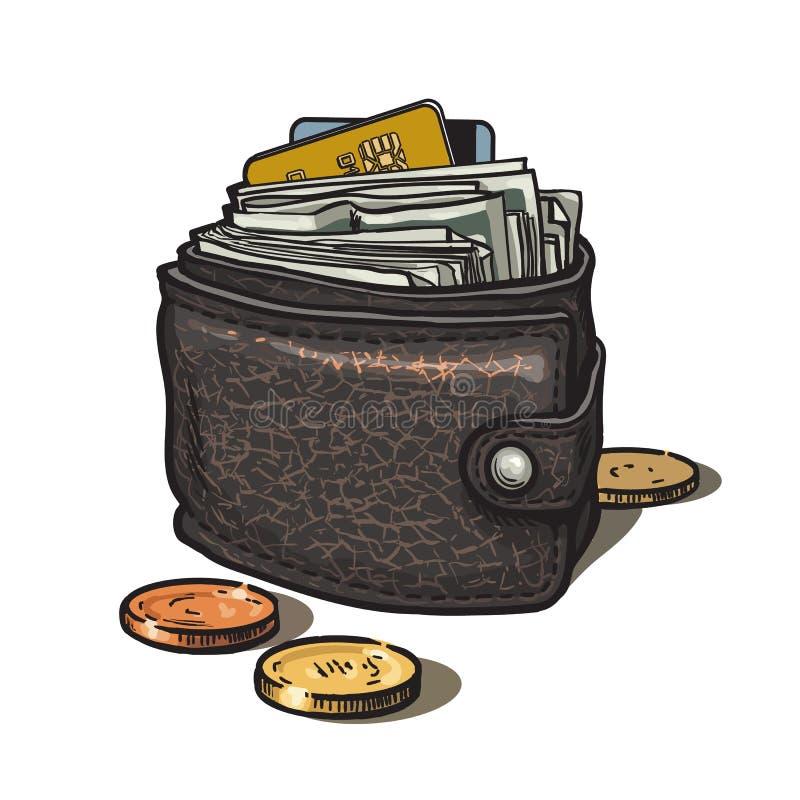 Portefeuille en cuir avec l'argent, la carte de crédit et les pièces de monnaie Illustration de vecteur tirée par la main dans le illustration stock