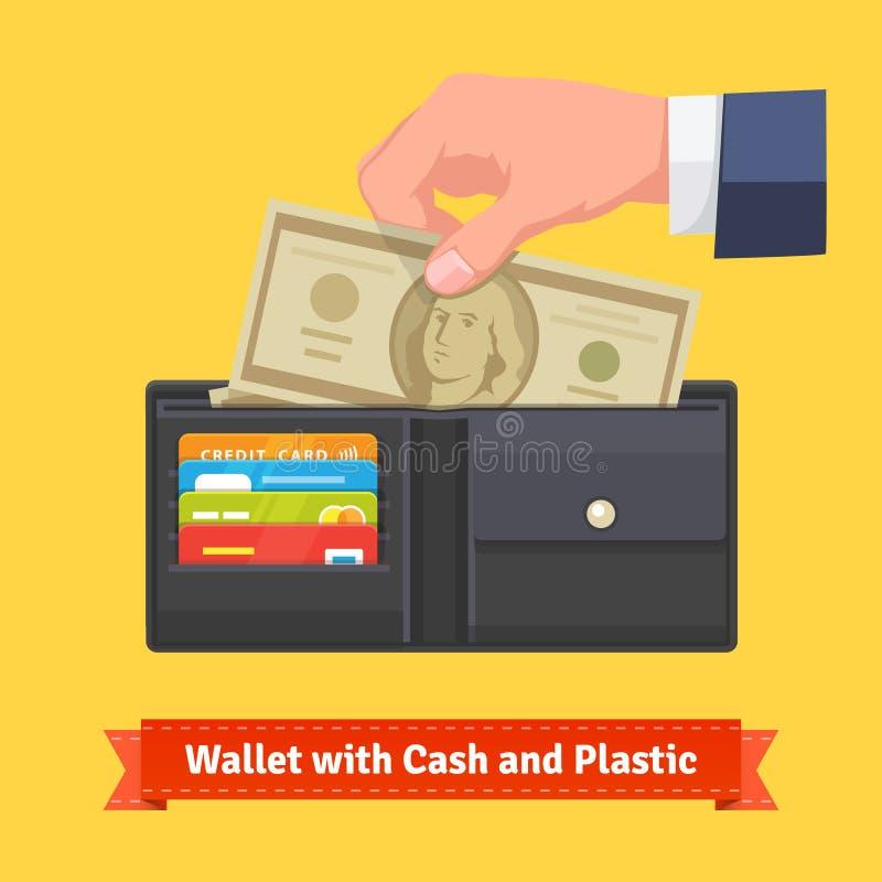 Portefeuille en cuir avec quelques dollars et cartes de crédit illustration stock