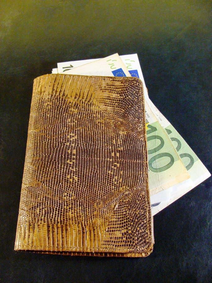 Portefeuille en cuir de serpent avec des euros Concept de richesse image libre de droits