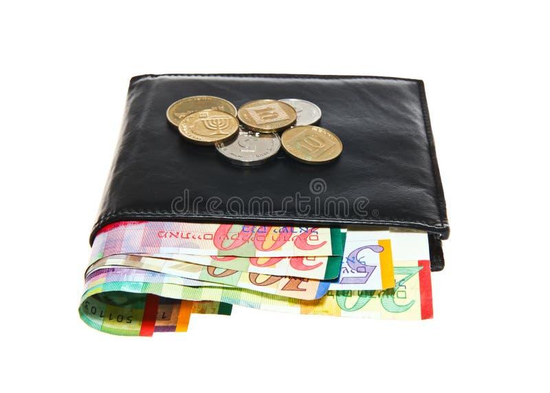 Portefeuille en cuir noir avec le shekel israélien photo stock