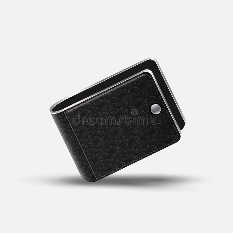 Portefeuille en cuir noir réaliste illustration de vecteur