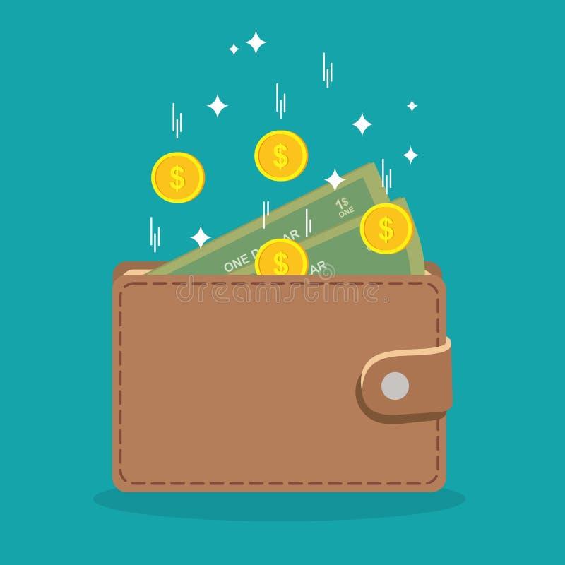 Portefeuille en dollars die in het vallen Het concept aanvulling van de bankrekening Vector illustratie royalty-vrije illustratie