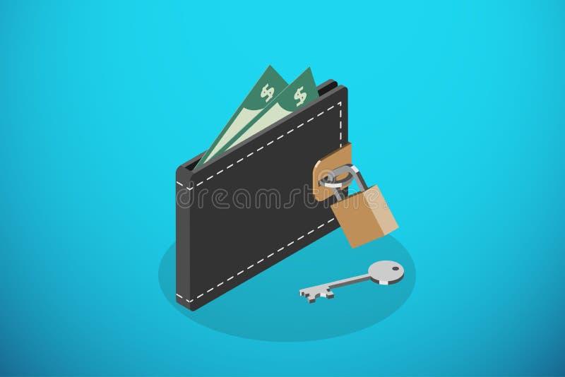 Portefeuille et serrure noirs fermés isométriques avec la clé, enregistrant l'argent et le concept d'affaires illustration stock